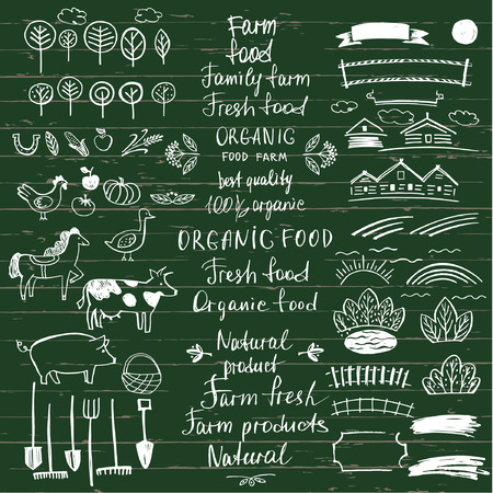 menu land: Set logos natural products. Design elements for summer menu  restaurant, cafe. Hand drawn element for eco organic food. Ecology natural product. Illustration
