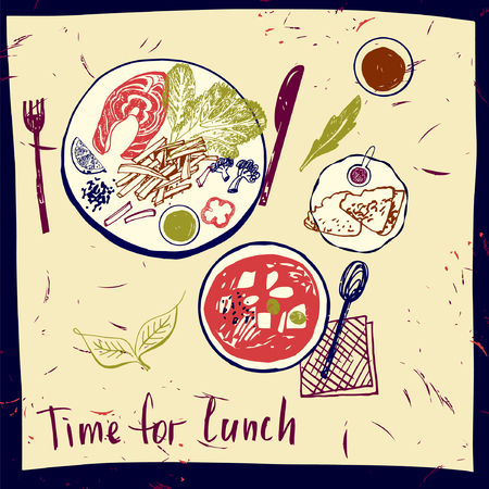 salmon fillet: Time for lunch. Plates of food. Vector illustration. Sketch lunch. Serving meals at the restaurant. Set of elements for a menu in a cafe, restaurant. Hand drawn bowl of made with beets and usually served with sour cream. Illustration