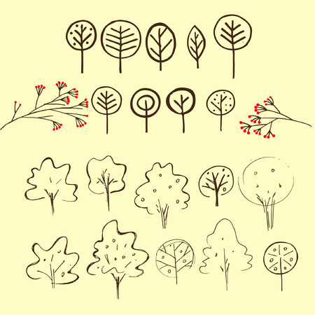 shrub: Set of hand drawn outline sign of trees. Simple vector illustration of shrub.