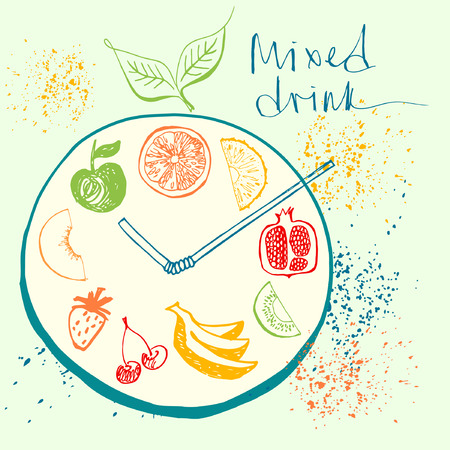 mixed fruit: Time to drink. Design element for eco mixed fresh juice and drink. Fitness, Diet and Calorie. Logo for healthy lifestyle. Fruit menu and  bar.