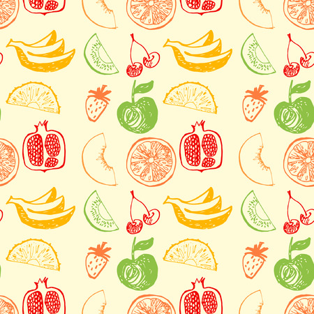 Seamless vector pattern with hand drawn fruit for menu fresh juice. Colorful background for fruit menu and  bar.