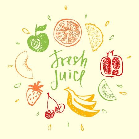 Świeży sok.Kształtowy element dla ekologicznego mieszanego soku i napoju. Fitness, dieta i kaloria. Logo świeżego soku. Menu owocowe i bar. Logo