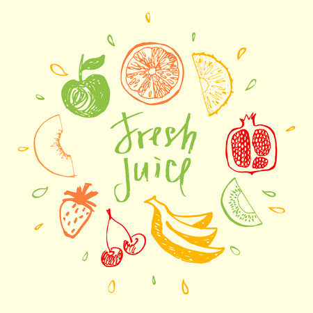 Fresh juice.Design element for eco mixed fresh juice and drink. Fitness, Diet and Calorie. Logo fresh juice. Fruit menu and  bar.