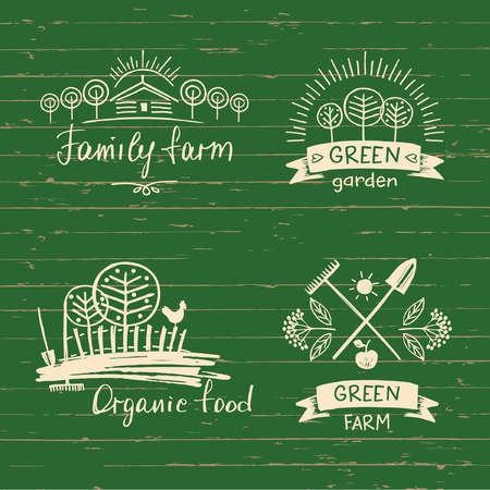 Définir la ferme familiale. alimentation biologique. Élément dessiné à la main pour les aliments écologiques. Ecologie produit naturel. Croquis de la ferme.