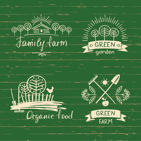 menu land: Set  family farm. organic food. Hand drawn element for eco food. Ecology natural product. Sketch farm  . Illustration