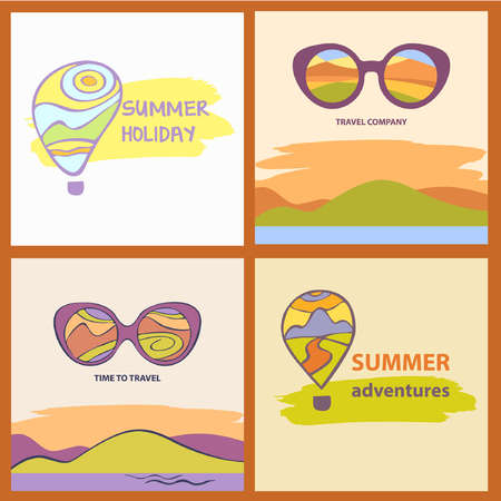 Vector sunglasses with reflection summer landscape with sea and mountains.   Tourism. Vector  travel company. Summer Adventures. Balloon and mountain landscape.