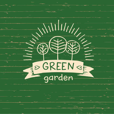 menu land: Vector logo green garden.Logo organic food. Hand drawn element for eco food. Ecology natural product. Sketch farm logo. Illustration