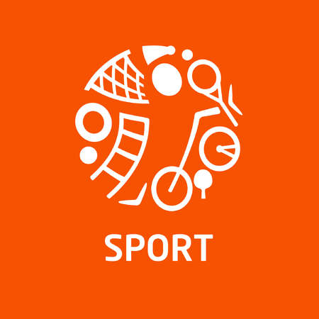 sporting equipment: Vector  for childrens sports school, club, shop for sports, competition sports. Silhouettes of a man sporting equipment. Various sports. Illustration