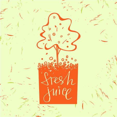 símbolo de jugo fresco. Árbol de frutas. Naranjo. Dibujado a mano diseño de la fruta. Vector con gota y la fruta.