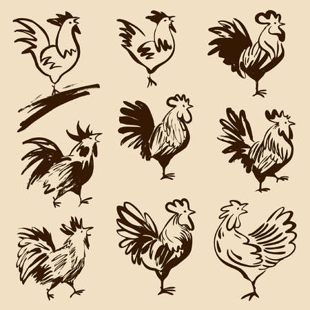 Roosters in different poses. Vector silhouettes roosters. Hand drawn cocks. Çizim