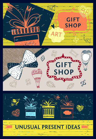 Set of banners for gift shop. Unusual ideas presents store. Color vector background for web design.