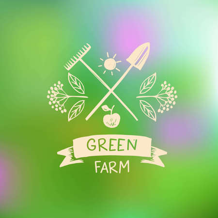 menu land: Vector  green farm.  Sketch for  agriculture, horticulture.Branch with berries, garden tools, a shovel and a rake. Gardening, growing vegetables and fruit Illustration