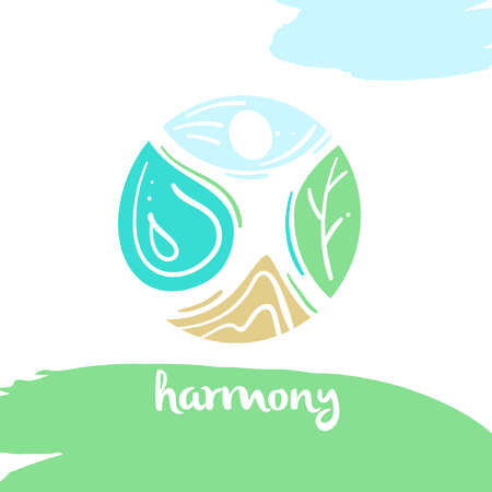 harmony nature: harmony, four nature element, high mountain, blue sky, clean water, green tree. Illustration for eco-friendly technologies and clean energy environmental organization.