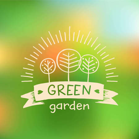 menu land: Vector  green garden. organic food. Hand drawn element for eco food. Ecology natural product. Sketch farm  . Illustration
