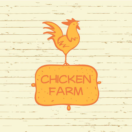 Vector  . Chicken farm. Products from chicken meat and eggs. Hand drawn silhouette illustration rooster on wood background with orange shield. Illustration
