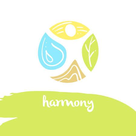 armonia: armonía, de cuatro elementos naturaleza, la tierra marrón, amarillo sol, el agua azul, árbol verde. Ilustración para las tecnologías respetuosas del medio ambiente y la organización del medio ambiente energía limpia.