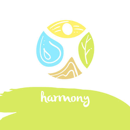 harmony, four nature element, brown ground, yellow sun, blue water, green tree. Illustration for eco-friendly technologies and clean energy environmental organization.