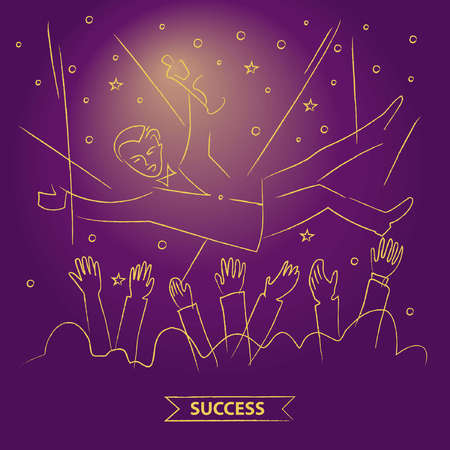 fame: Presentation of the film award to the actor. Popularity and fame. Throw up the actor. Get rewarded for their work. The award ceremony. Vector illustration. Linear gold sketch on color background