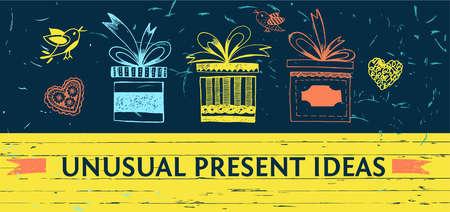 surprise box: Banner for gift shop. Unusual ideas presents store. Color vector background for web design. Illustration
