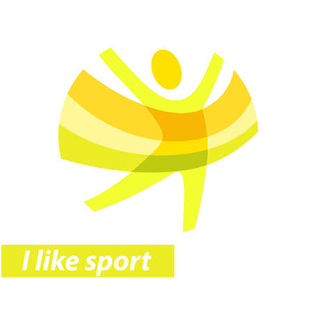 i like my school: Vector icon for children sport school, club, shop for sport, competition sport. Green and orange colors. The symbolism, conceptual and brevity. Illustration i like sport Illustration