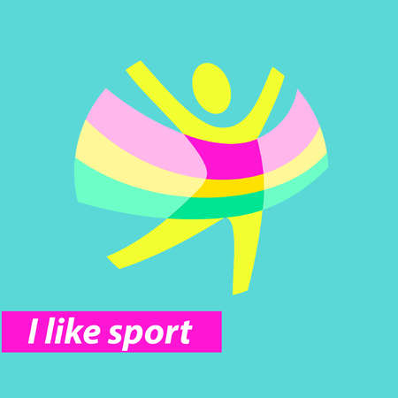 i like my school: Vector icon for children sport school, club, shop for sport, competition sport. Silhouettes of a various sports. Symbolism, conceptual and brevity. Illustration i like sport