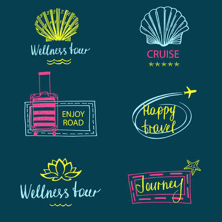 Set of design icon of subject travel and tourism. Hand drawn silhouettes. Beach vacation in the tropics, flight. icon for advertising tourism companies, tour operators.