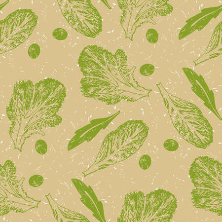 scetch: Hand drawn scetch vector seamless pattern vegetable green salad on biege background.
