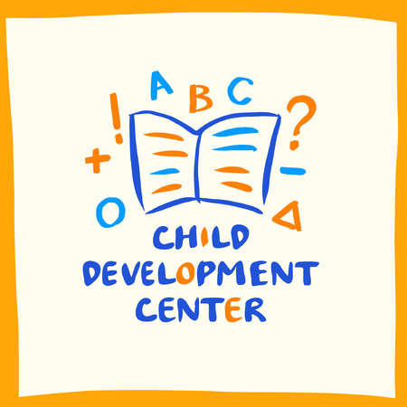 child development center with book on white background. Kids genius exclusive education concept illustration.