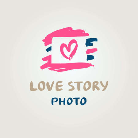 wedding photography: Hand drawn vector  with heart. Illustration love story photo. Wedding Photography. Illustration