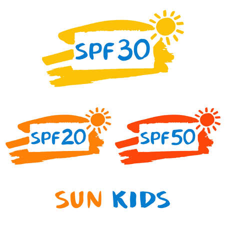 sun protection: Vector logo for sun protect cream. Illustration of sun protection factor. Lotion with effective of protective skin