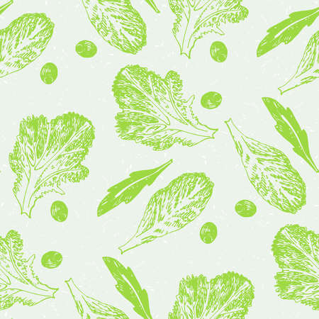 scetch: Hand drawn scetch vector seamless pattern vegetable green salad on gray background. Illustration