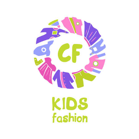 Vector for kids fashion. Template for advertising children store and market. Kid dress and baby clothes.