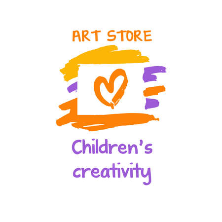 Vector  for art store. Children creativity. Illustration with heart for study kid to make idea. Illustration