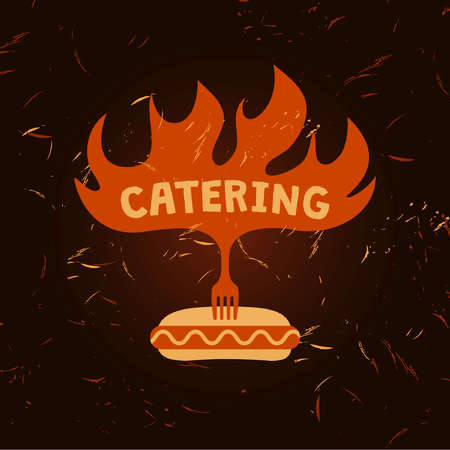 Hot dog  . Vector  for fast food. Illustration for catering menu cafe with sparks of fire on background.