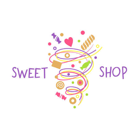 candy store: template for confectionery and bakery. Candy store. Candy and cookies. Bright, festive style.Sweet shop. Illustration