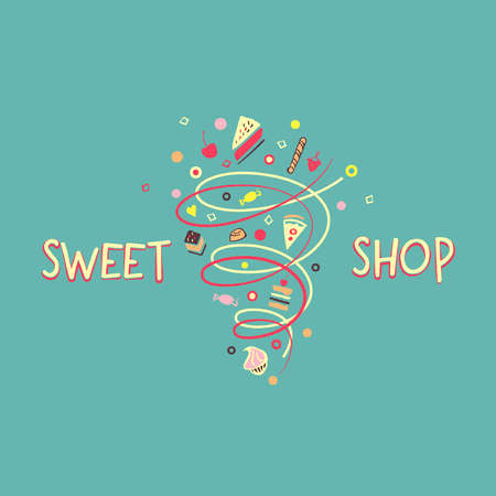 menu land: Logo template for confectionery and bakery. Candy store. Candy and cookies. Bright, festive style. Sweet shop. Illustration