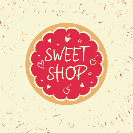 menu land: Logo template for confectionery and bakery. Candy store. Candy and cookies. Bright, festive style.Sweet shop.