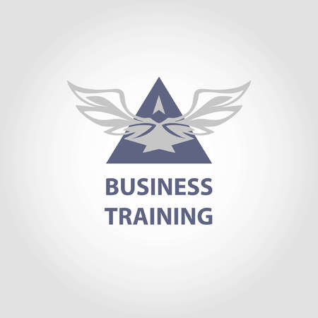 Vector logo business training. Illustration elegant style with eagle and pyramid.