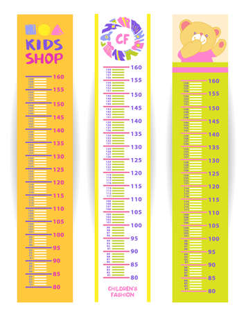 height measure: Kids measure in centimeter from 80 to 160 cm. Set of children height meter wall vector illustration Illustration