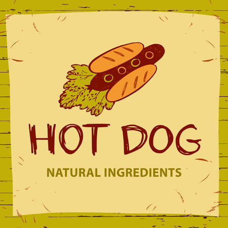 Hot dog for eco natural product. Vector for fast food. Illustration with rocket for menu cafe on color background.