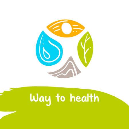 Camino a la salud. Vector. El tratamiento y el descanso. para el sanatorio de la localidad. Terapia lekartsva natural. Humano y la naturaleza. recuperación de la salud