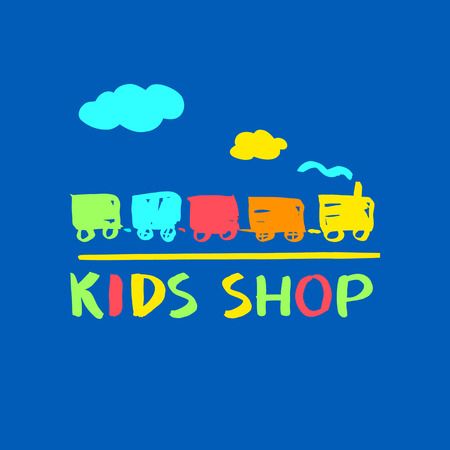 cute cards: vector template for kids shop and market. Vector illustration with colorful kid train.