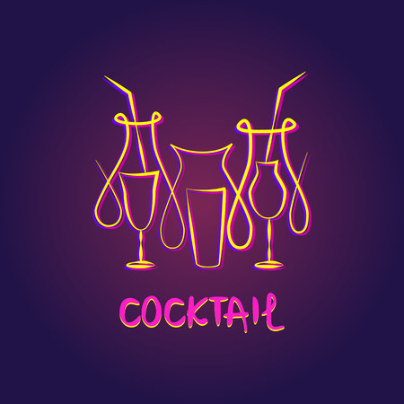 coctail: Vector premium summer fruit coctail. Linear glowing food beverage on dark background. Illustration