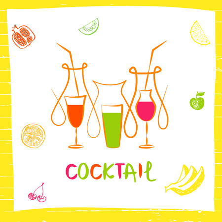 coctail: Vector for fresh fruit coctail. Illustration for premium beverage on white background with fruits.
