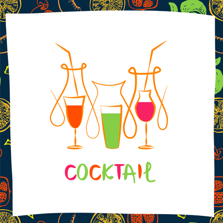 coctail: Vector for fresh fruit coctail. Illustration for premium beverage on white background