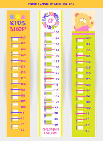 height chart: Vector illustration stadiometer for children, measuring in centimeters