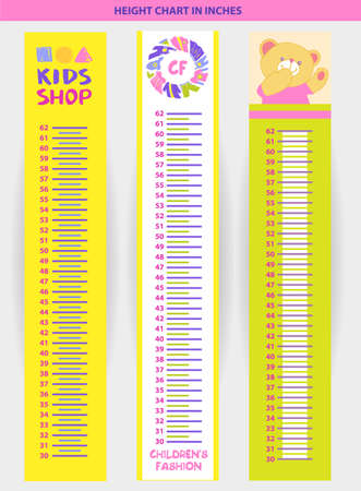 height chart: Vector illustration stadiometer for children, measuring in inches Illustration