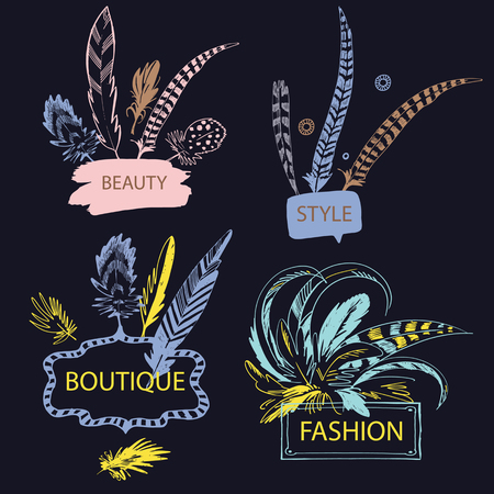 jewelry background: Set of feather with frame. Hand drawn vector illustration. Isolated on white background. Design elements for shop fashion accessories, jewelry made of feathers.