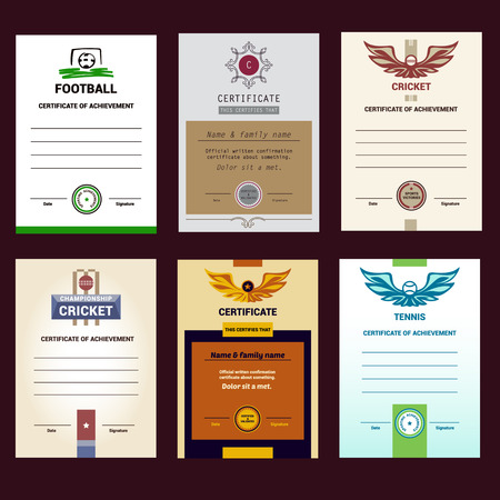 competitions: Set of vector template certificate, modern design. Football and tennis, cricket sports competitions.