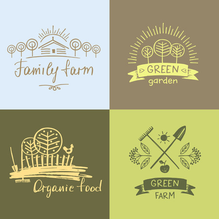 menu land: Set family farm. organic food. Hand drawn element for eco food. Ecology natural product. Sketch farm .